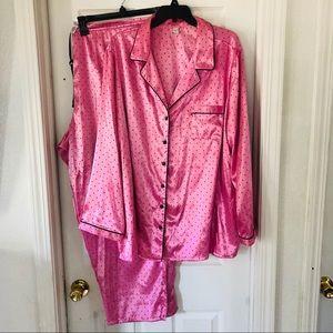 pink polkadot silky pajamas
